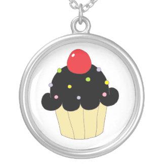 Black Cupcake Round Pendant Necklace