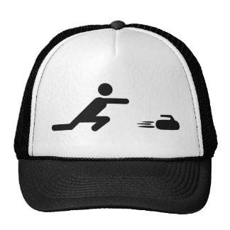 black curling icon cap