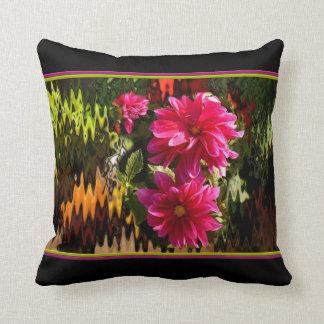 Black cushion with red dahlias