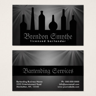 Black Custom Color Bartending Services Bartender Business Card