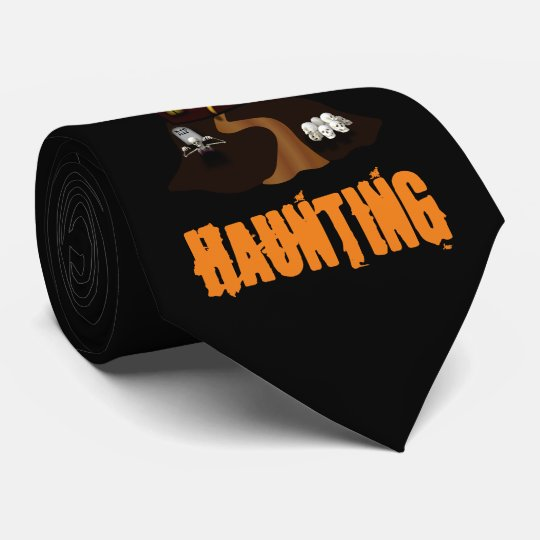Black Custom Halloween Haunted House Tie
