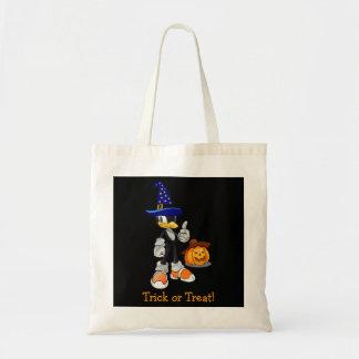 Black Custom Halloween Treat Bags Wizard Penguin