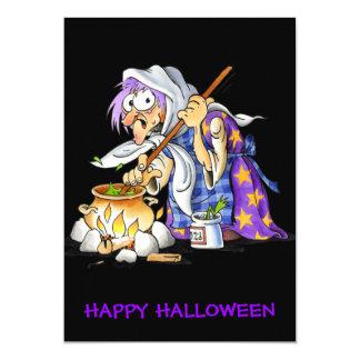 Black Custom Happy Halloween Cards Purple Witch 13 Cm X 18 Cm Invitation Card