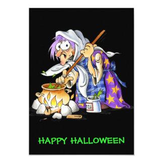 Black Custom Happy Halloween Cards With Witch 13 Cm X 18 Cm Invitation Card