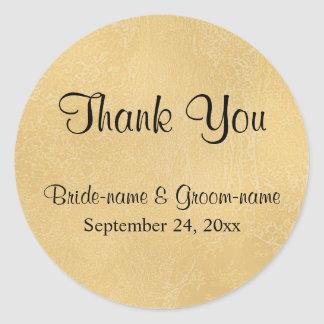 Black Custom Text on Tan Color Abstract, Wedding Round Sticker
