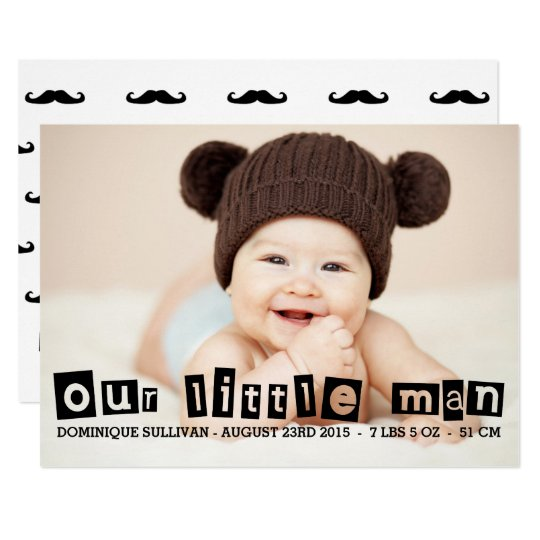 Black Cut-out Typography Photo Birth Announcement