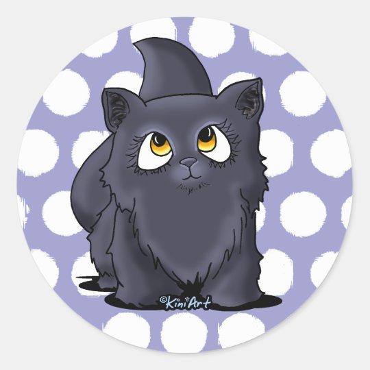 Black Cutie Face Kitten Classic Round Sticker
