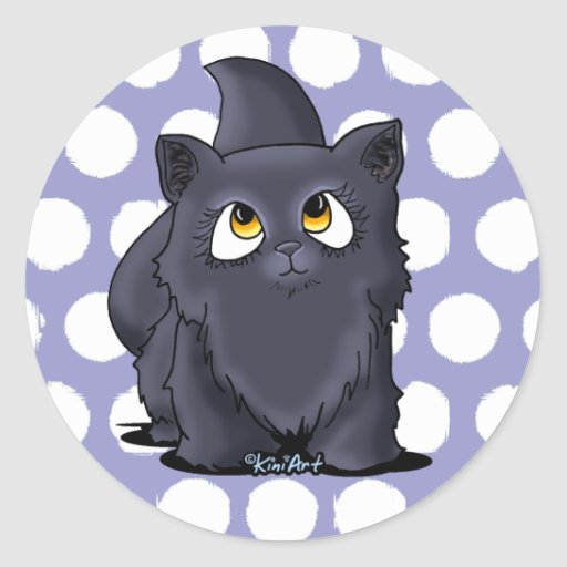 Black Cutie Face Kitten Round Sticker