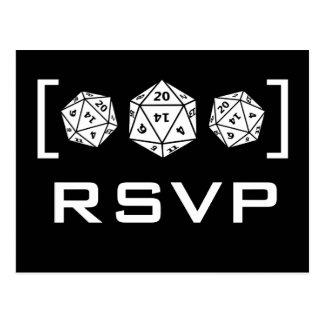 Black D20 Dice Gamer RSVP Postcard