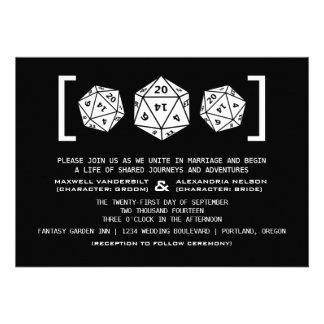 Black D20 Dice Gamer Wedding Invitation