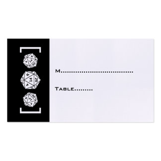 Black D20 Dice Gamer Wedding Place Card Pack Of Standard Business Cards
