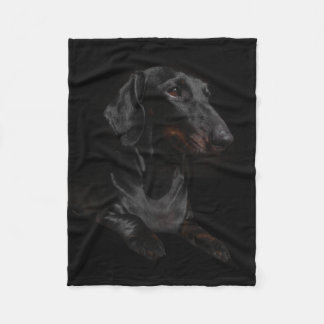 black dachshund fleece blanket