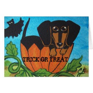 Black Dachshund Halloween Pumpkin Greeting Card