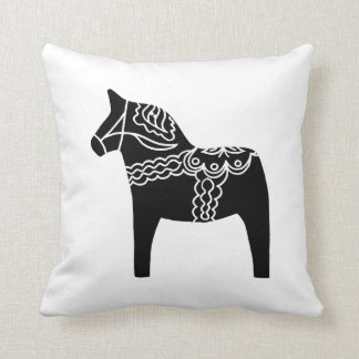 Black Dala Horse Cushion