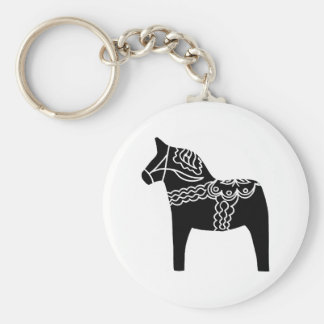 Black Dala Horse Key Ring