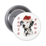 Black Dalmatian Santa Paws - Button