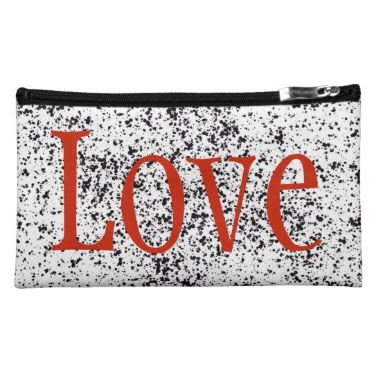 Black Dalmatian Sueded Medium Cosmetic Bag