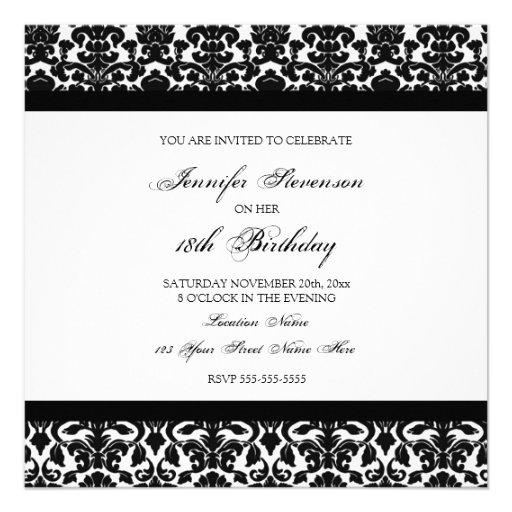 Black Damask 18th Birthday Party Invitations
