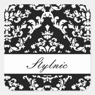 Black Damask #3 @ Stylnic w/custom text Square Sticker