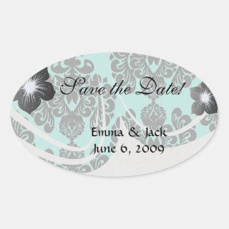 black damask and aqua blue lovely elegant oval sticker