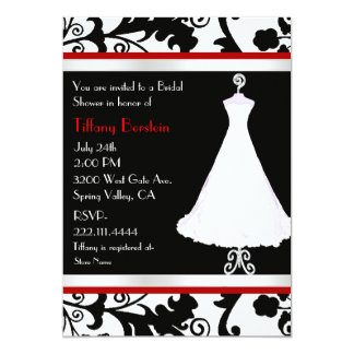 Black Damask and Bridal Gown Bridal Shower 13 Cm X 18 Cm Invitation Card