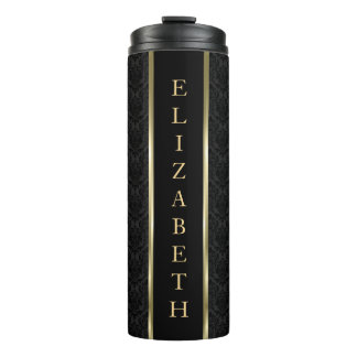 Black Damask And Gold Black Stripe Thermal Tumbler