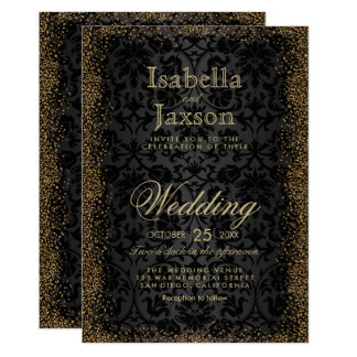 Black Damask and Gold Confetti Glitter Invitation