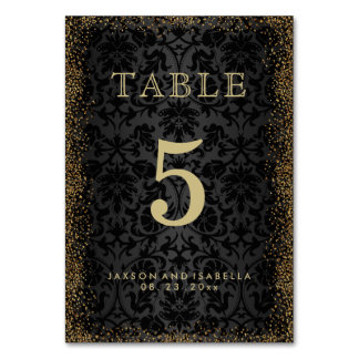 Black Damask and Gold Confetti Glitter -Table Card