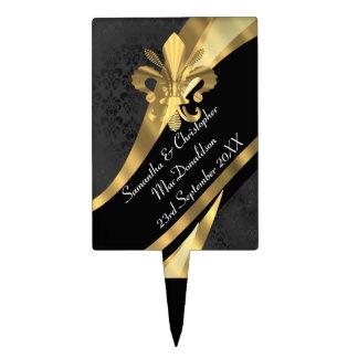 Black damask and gold fleur de lys cake pick