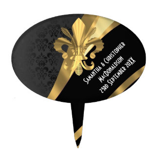 Black damask and gold fleur de lys cake toppers