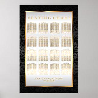 Black Damask and White Satin - Seating Chart Poster