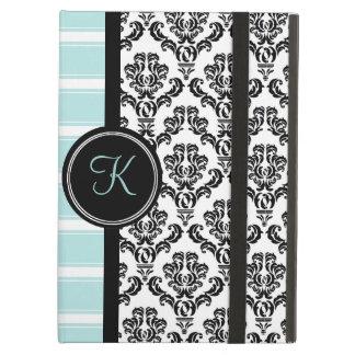 Black Damask Aqua Stripe Monogram Case iPad Air Covers