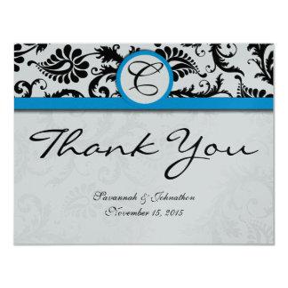 Black Damask Aquamarine Trim Wedding Thank You 11 Cm X 14 Cm Invitation Card