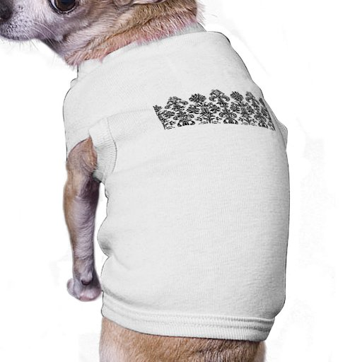 Black Damask Background for the DIY bride Doggie Tee Shirt