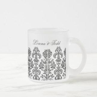 Black Damask Background for the DIY bride Frosted Glass Mug