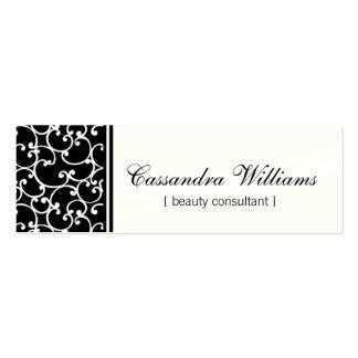 Black Damask Beauty Micro Mini Business Cards