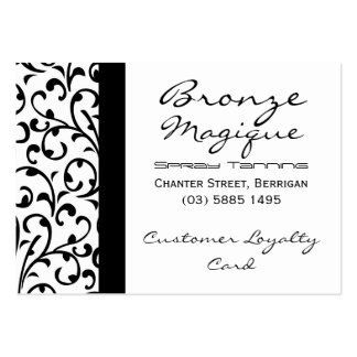 Black Damask Business Customer Loyalty Card Pack Of Chubby Business Cards