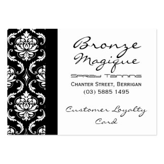 Black Damask Business Customer Loyalty Cards Pack Of Chubby Business Cards