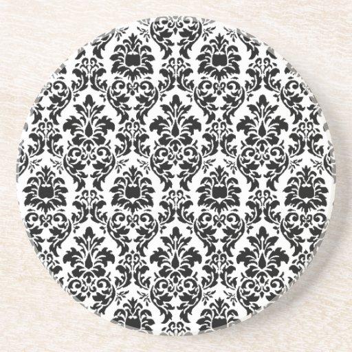 Black Damask Drink Coasters