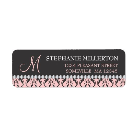 Black Damask & Diamonds Monogram Address Label