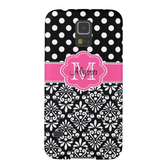 Black Damask Dots Pink Personalised Phone Case