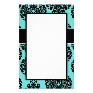 black damask elegance on aqua blue design stationery