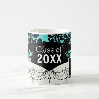 black damask elegance on aqua blue graduation mugs