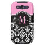 Black Damask Galaxy S3 Case | Monogram Pink