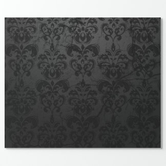 Black Damask Gift Wrap Wrapping Paper