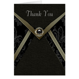Black Damask Gold Diamond Jewel Thank You Cards