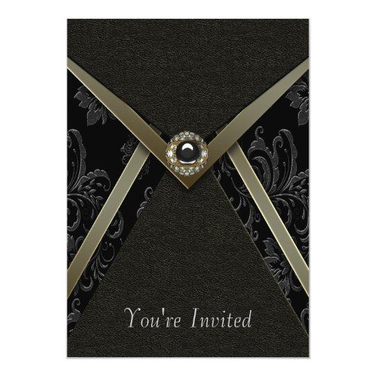 Black Damask Gold Trim Black Invitation Template