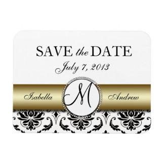 Black Damask Gold Wedding Save the Date Magnet