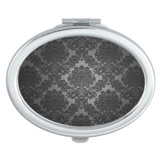 Black Damask Gradient Pattern Travel Mirror