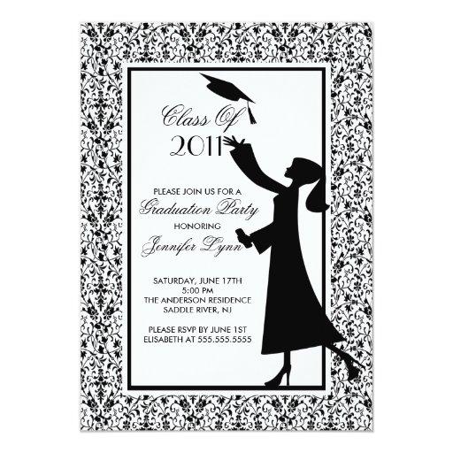 Black Damask Graduation Invitation Silhouette Grad